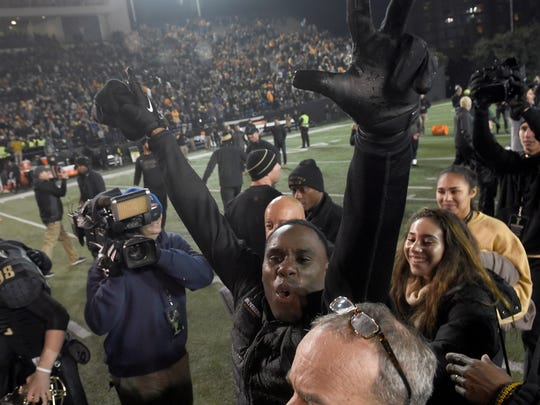 Vanderbilt head coach Derek Mason celebrates his team's win over Tennessee at Vanderbilt Stadium Saturday, Nov. 26, 2016, in Nashville, Tenn.