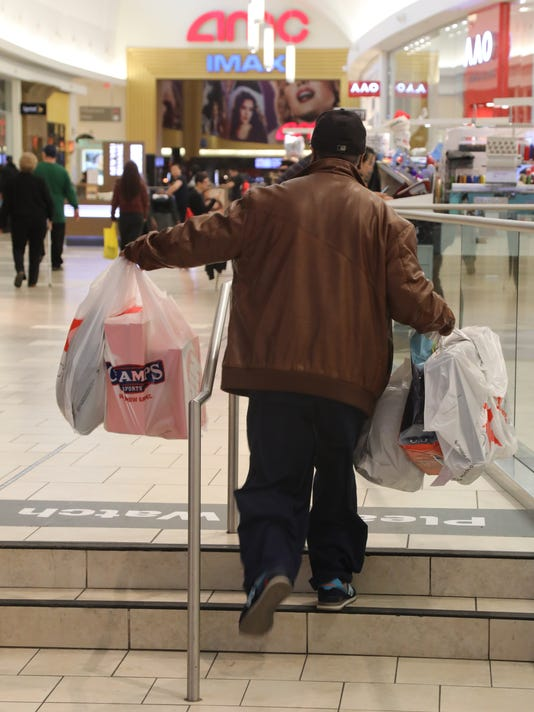 Last minute shopping on Christmas Eve at Garden State Plaza Mall.