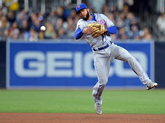 Apr 27, 2018; San Diego, CA, USA; New York Mets shortstop Amed Rosario (1) throws out San Diego Padres left fielder Jose Pirela (not pictured) during the seventh inning at first at Petco Park.