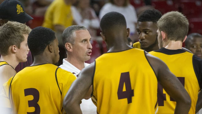 Head coach Bobby Hurley instructs his team during ASU men's Maroon and Gold Madness basketball scrimmage at Wells Fargo Arena in Tempe on October 9, 2015.