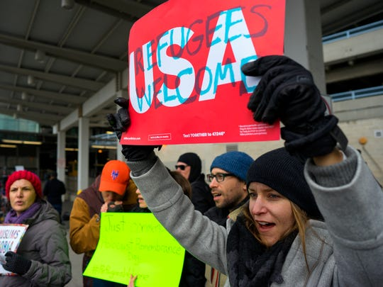 Protesters assemble at John F. Kennedy International Airport in New York, Saturday, Jan. 28, 2017 after two Iraqi refugees were detained while trying to enter the country. On Friday, Jan. 27, President Donald Trump signed an executive order suspending all immigration from countries with terrorism concerns for 90 days. Countries included in the ban are Iraq, Syria, Iran, Sudan, Libya, Somalia and Yemen, which are all Muslim-majority nations