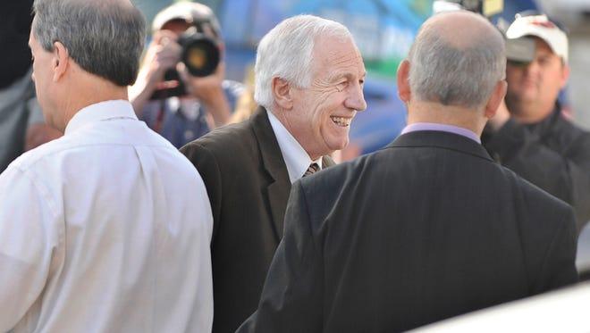 Jerry Sandusky enters the Centre County Courthouse on Thursday, June 14, 2012.