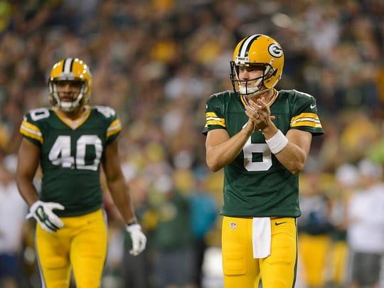 Green Bay Packers quarterback Matt Blanchard (6) goes into the game against the Philadelphia Eagles during Saturday night's preseason game at Lambeau Field.