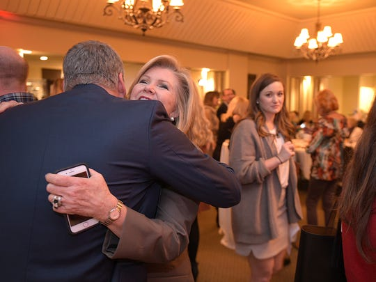 U.S. Rep. Marsha Blackburn is congratulated after being