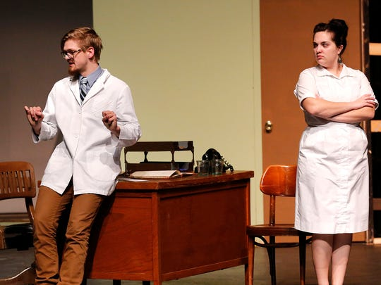 Trevor Clementi and Ellie Thelen act out a scene during rehearsals for Harvey.