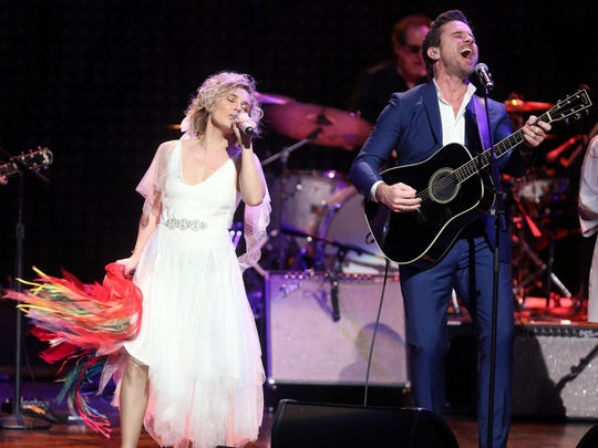 """Clare Bowen and Charles Esten participates in the final US performance by the cast of the TV show """"Nashville"""" March 25, 2018 at the Grand Ole Opry House. Ryman Hospitality helped create the show, which ran from 2012 to 2018."""