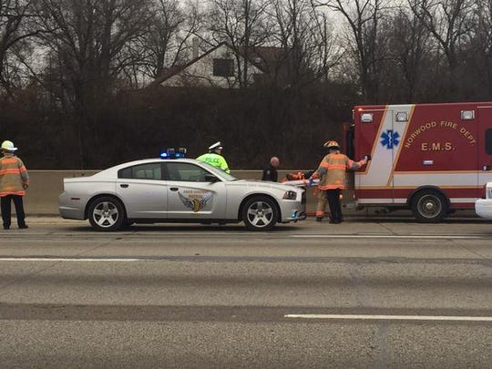 Authorities tend to a driver who led them on a chase down I-71.