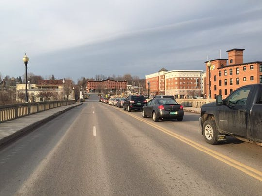 Traffic backs up from the Winooski traffic circle toward Colchester Avenue on Tuesday afternoon.