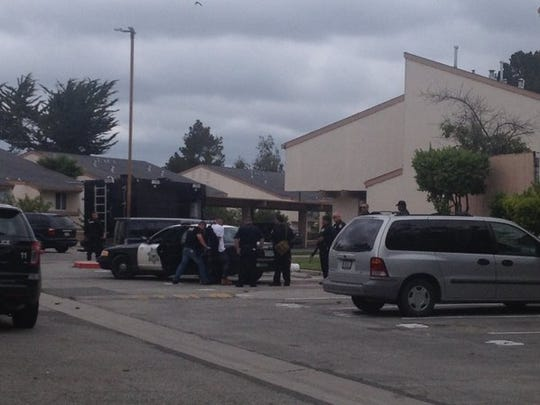 Salinas Police arrest a suspect in Acosta Plaza on Tuesday, April 12.