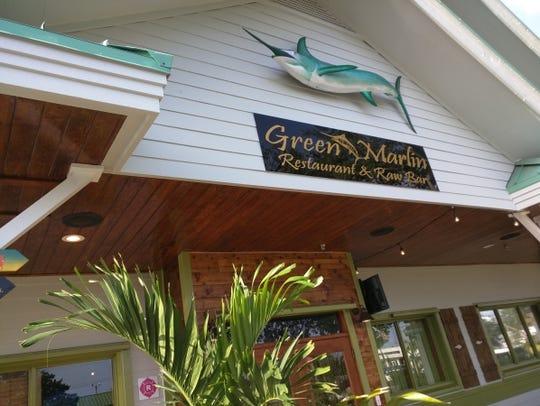 Outside the Green Marlin Restaurant & Raw Bar in Vero