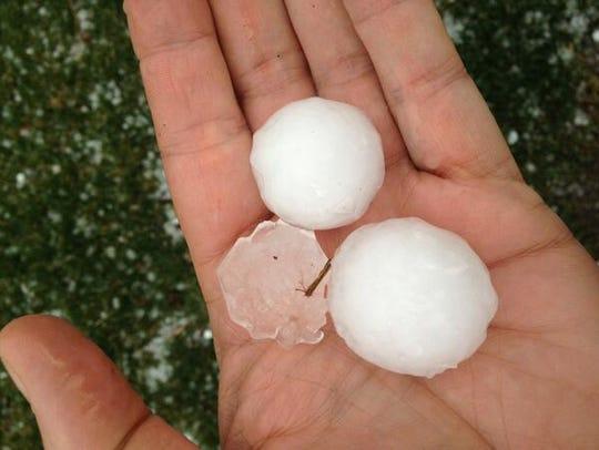 Golf-ball-sized hail that fell near 106th Street and