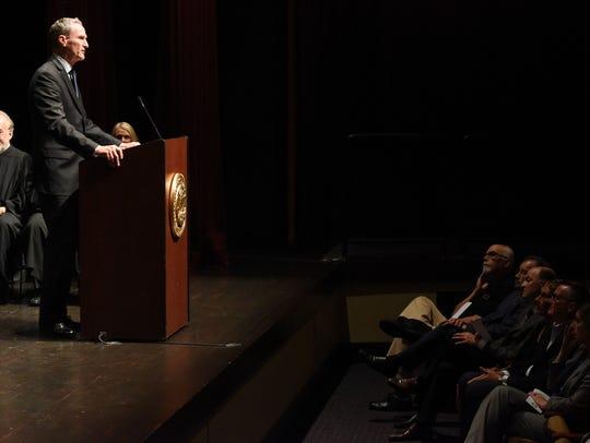 Gov. Dennis Daugaard speaks at an investiture celebration