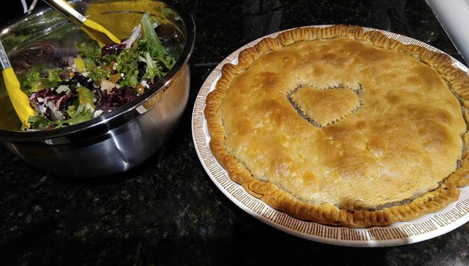 At home, Robin Mastera, chef-owner of The Farmer's Wife restaurant, makes chicken pot pie the way her mother did, with a heart in the top crust as a pie vent.