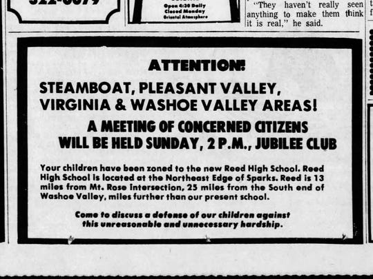 Concerned parents gathered in January 1974 to discuss school district rezoning which assigned students to the new Reed High School.