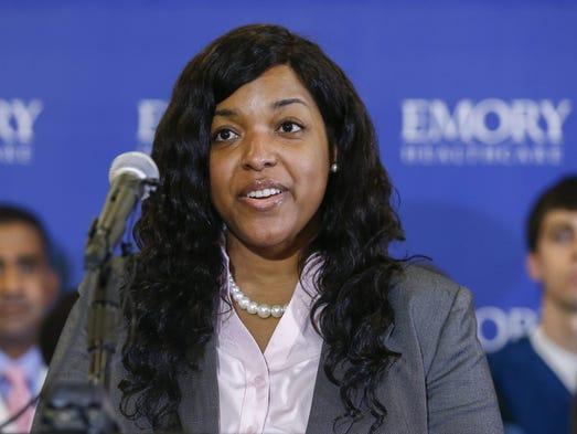 epa04467376 Ebola virus survivor Amber Vinson speaks
