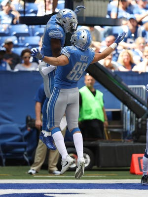 Lions wide receiver Kenny Golladay celebrates his touchdown with tight end Cole Wick during the second quarter of the Lions' 24-10 exhibition win over the Colts on Sunday, Aug. 13, 2017, in Indianapolis.