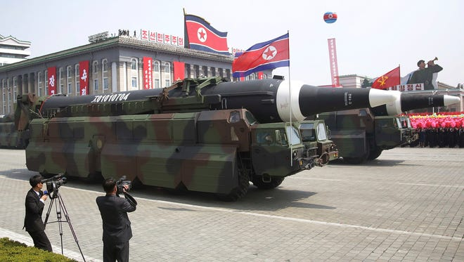 In this, April 15, 2017 photo, a reported North Korean KN-08 Intercontinental Ballistic Missile (ICMB) is paraded across Kim Il Sung Square during a military parade in Pyongyang, North Korea.