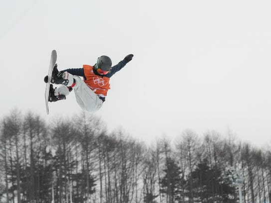 Snowboarder Kelly Clark of the United States practices