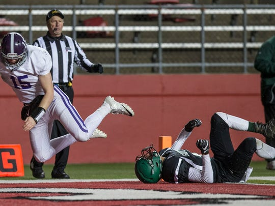 Mike O'Connor scores a touchdown. South Plainfield vs Rumon-Fair Haven Central Group III sectional title game at High Point Solutions Stadium. Piscataway, NJSaturday, December 3, 2016.@dhoodhood