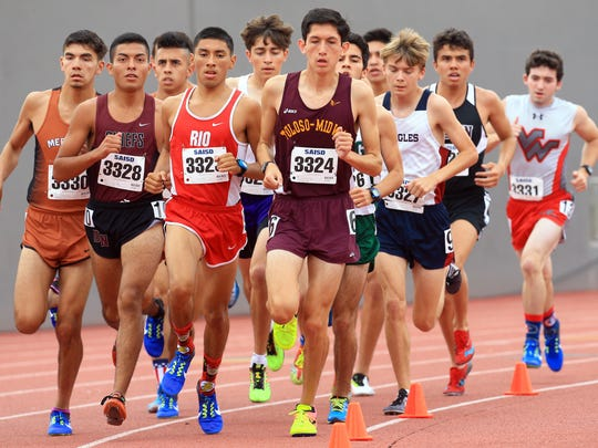 Tuloso-Midway's Aciel Castillo competes in the boys 3200 meter run during the Region IV-5A Track and Field meet at Alamo Stadium in San Antonio.