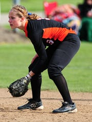 Silverton shortstop Maggie Buckholz waits for the ball against Central during the first game of a doubleheader, on Friday, April 24, 2015, in Independence.