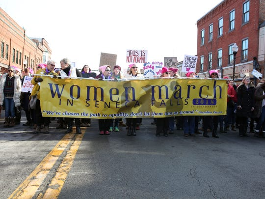 The Women March took place on Saturday, January 20 in Seneca Falls. Over ten thousand people came out to rally and march through Seneca Falls, home to the first women's rights convention.