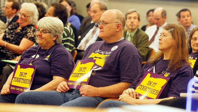 Members of SEIU 503 attend the Senate Committee on Finance and Revenue's public hearing and work session regarding cuts to PERS benefits in 2013.