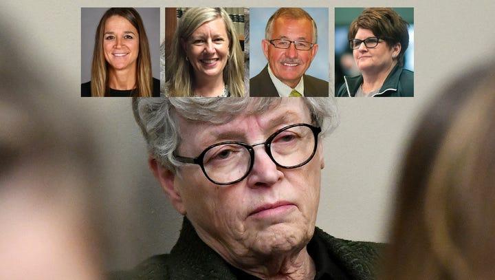 Lou Anna K. Simon, MSU president listens to victims