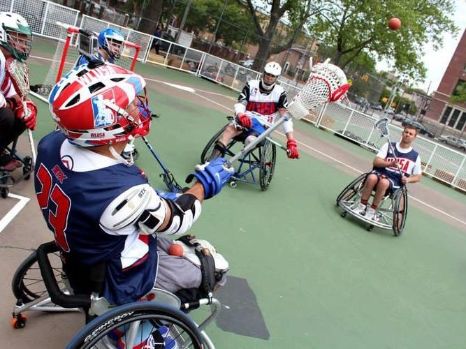Athletes compete in wheelchair lacrosse, a sport championed by wounded veterans.