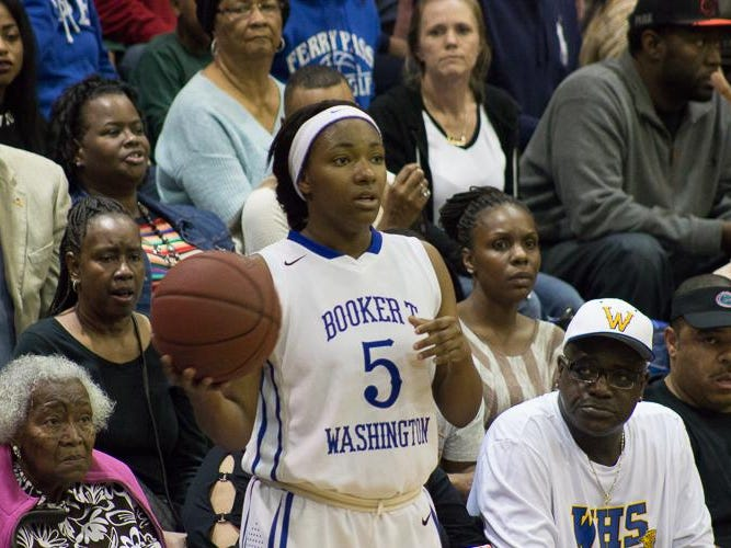 Washington's Kaloni Pryear looks for an inbound pass vs. Pensacola High on Friday.