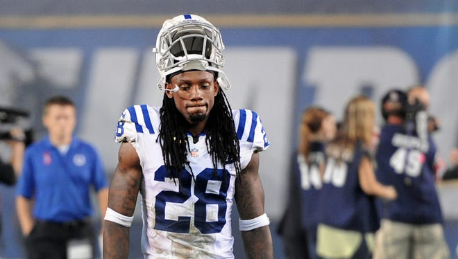 Colts cornerback Greg Toler feels the loss to the San Diego Chargers after their game at Qualcomm Stadium on Monday, October 14, 2013. The Colts lost 19-9 against the Chargers. Matt Detrich / The Star