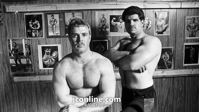 Officers Larry Danaher, left, and Tony Roswarski of the Lafayette Police Department recently competed in the first Indiana State Police and Firefighter Powerlifting Championships in Indianapolis. Danaher finished first in the 181-pound class, and Roswarski placed second in the 198-pound class. Photo taken April 7, 1985.