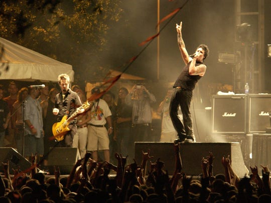 Papa Roach performs Saturday night at Springfest 2005.