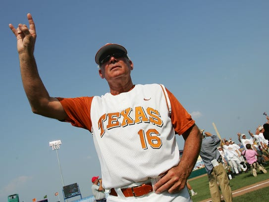 Head coach Augie Garrido of the Texas Longhorns celebrates