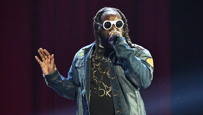T-Pain performs on the Colossal Stage during Clusterfest at Civic Center Plaza and The Bill Graham Civic Auditorium in San Francisco.
