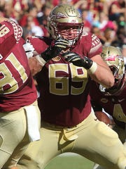 Florida State sophomore guard Landon Dickerson looks to pave the way towards success for Seminoles tailbacks.