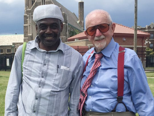 David Walton, 60, was released from prison in April after 43 years behind bars. On his left is Judge Peter Deegan the Vice President of the Retired Circuit Judges Association.