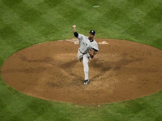 Jun 26, 2018; Philadelphia, PA, USA; New York Yankees starting pitcher Luis Severino (40) throws a pitch against the Philadelphia Phillies at Citizens Bank Park.