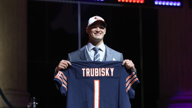 Mitchell Trubisky (North Carolina) is selected as the No. 2 overall pick to the Chicago Bears in the first round the 2017 NFL Draft at Philadelphia Museum of Art on April 27.