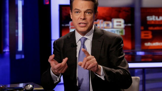 "Fox News Channel anchor Shepard Smith during a broadcast of his ""Studio B"" program, in New York."