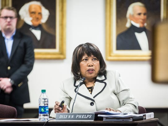 Dilynn Phelps attends a meeting Tuesday, March 28,