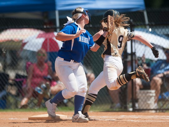 Ardmore's Brooklyn Calder reaches first base during