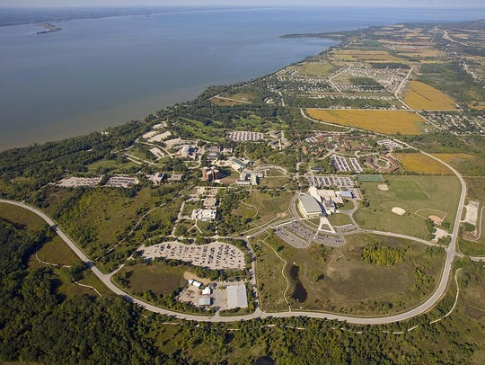 An aerial photo of the UW-Green Bay campus with the