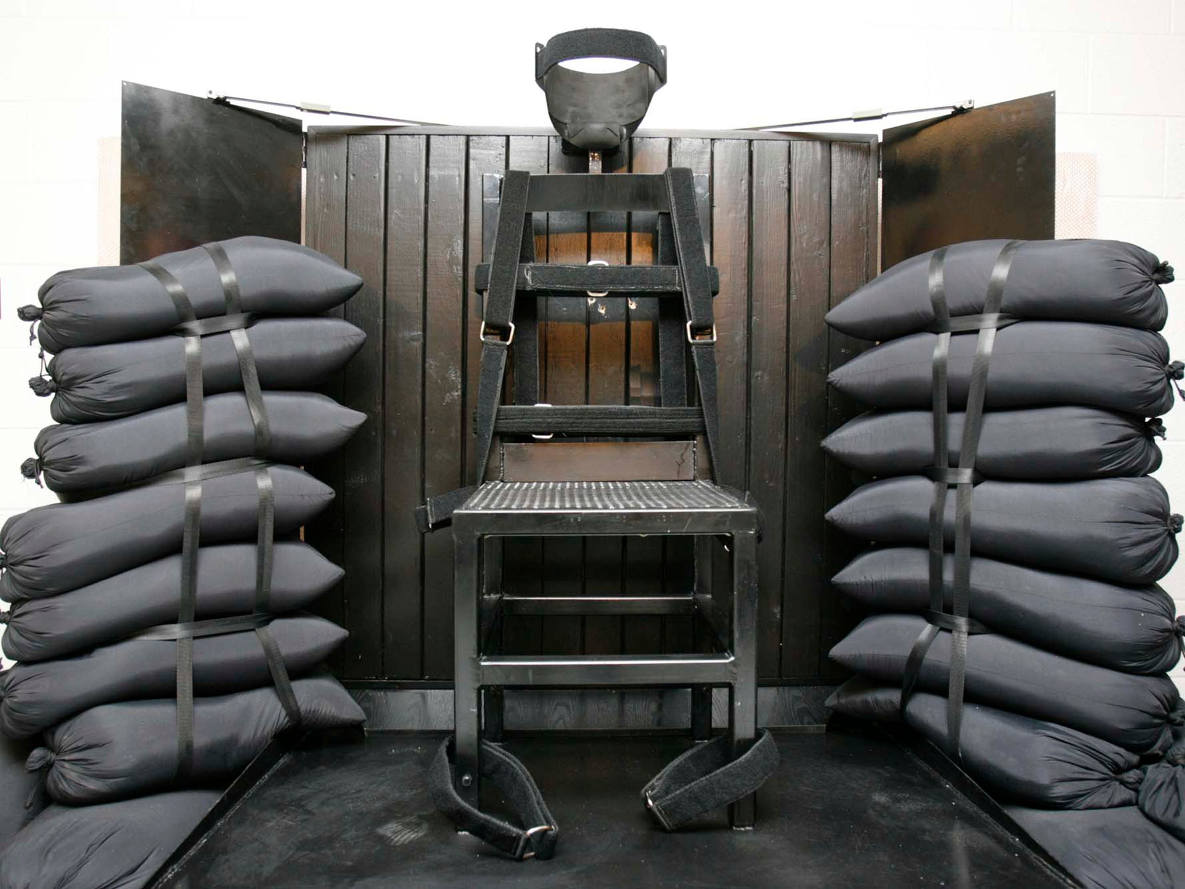 This June 18, 2010, file photo shows the firing squad execution chamber at the Utah State Prison in Draper, Utah.
