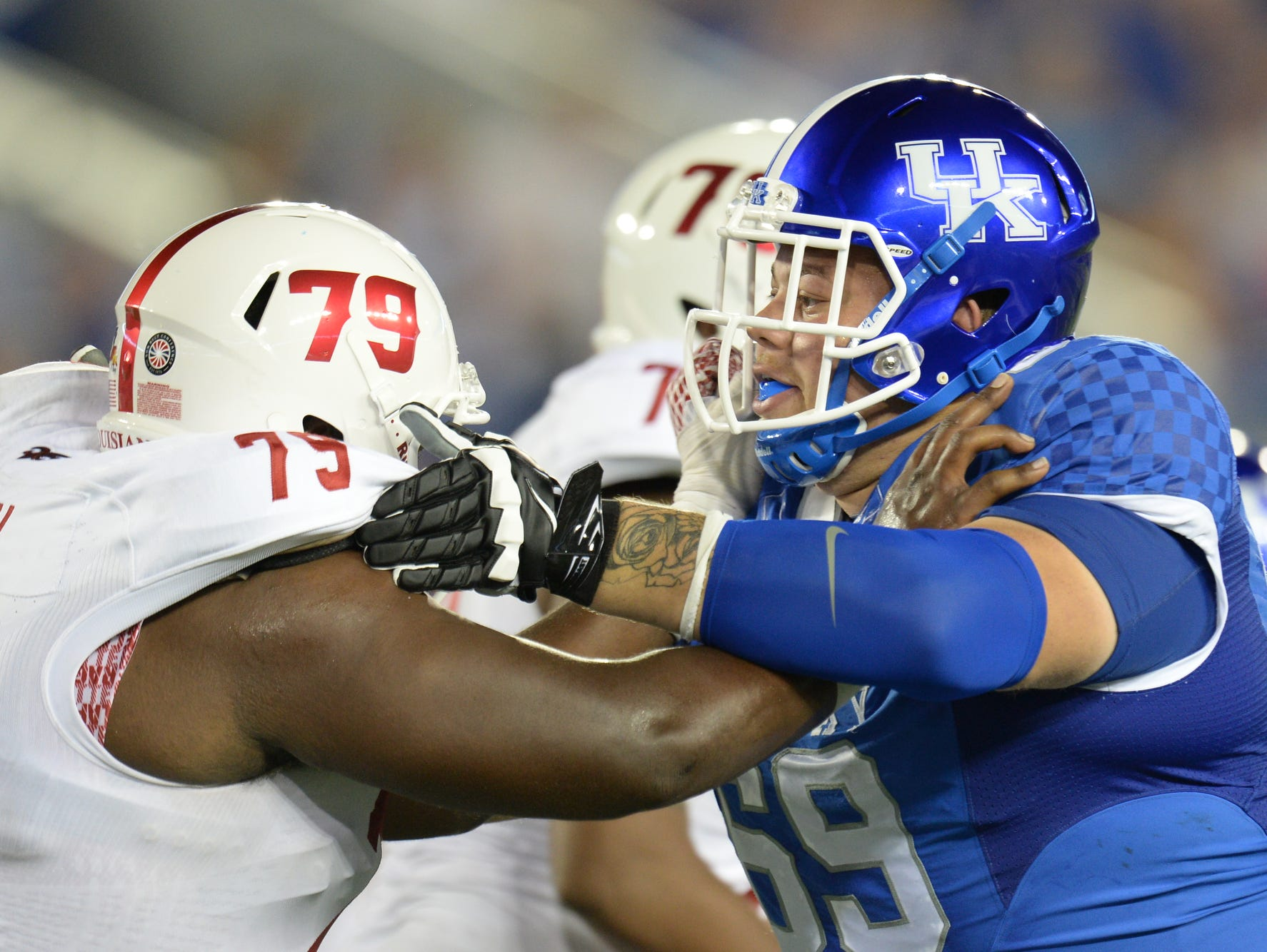 UK DT Matt Elam during the first half of the University of Kentucky football game against Louisiana-Lafayette at Commonwealth Stadium in Lexington, Ky., on Saturday, September 5, 2015. Photo by Mike Weaver