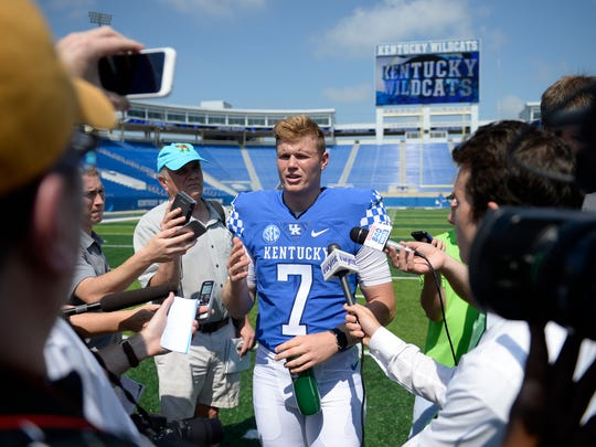 Drew Barker during the UK football media day in Lexington, Ky., on Friday, Aug. 5, 2016.