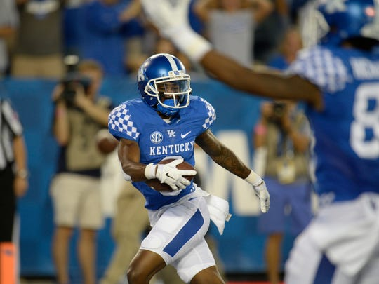 WR Garrett Johnson scores a touchdown during the University of Kentucky football game against Southern Mississippi at Commonwealth Stadium in Lexington, KY on Saturday, September 3, 2016.