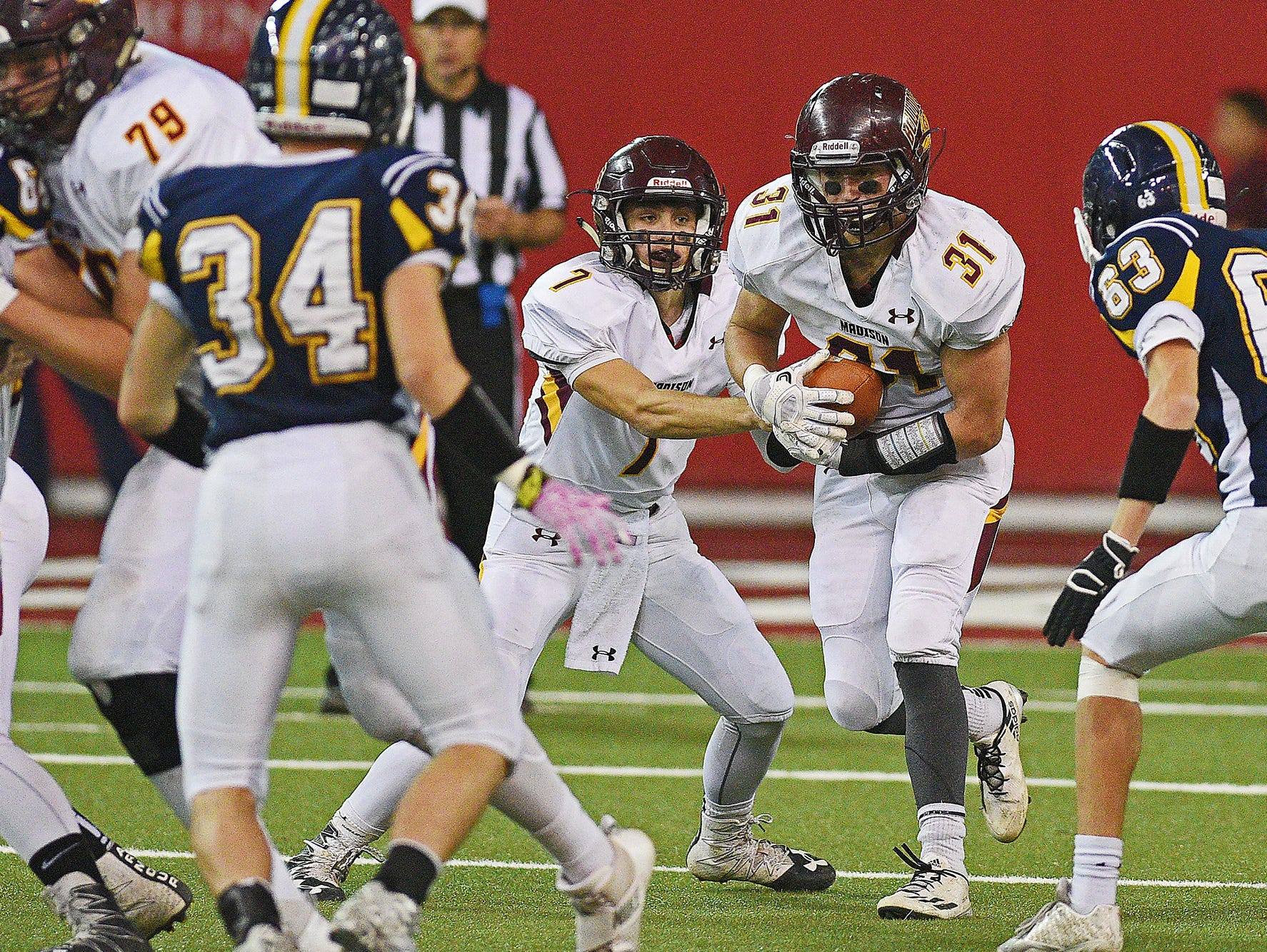 Madison's Riley Janke (31) carries the ball during the 2016 South Dakota State Class 11A Football Championship game against Tea Area Saturday, Nov. 12, 2016, at the DakotaDome on the University of South Dakota campus in Vermillion, S.D. Madison beat Tea Area 39-0.