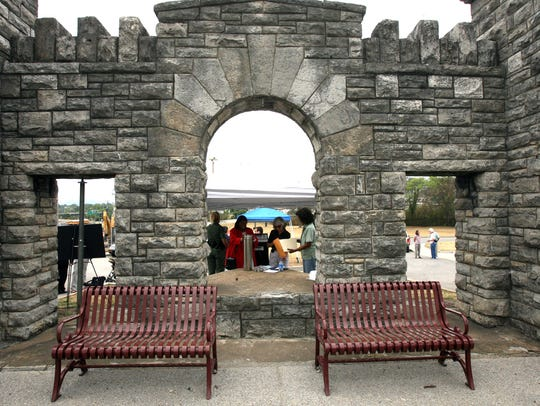 Visitors look around at the New Fort Negley Visitors