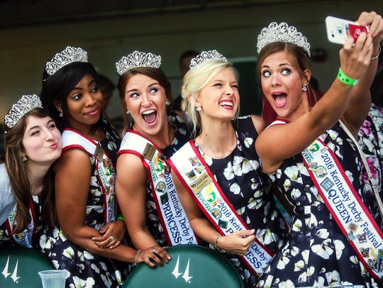 Kentucky Derby princesses pose for a selfie during